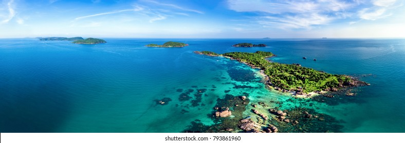 Royalty high quality free stock image aerial view of Gam Ghi island in Phu Quoc, Kien Giang, Vietnam