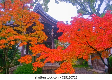 Rozanji (Rozan Tendaikoji) Temple is near on the Kyoto's Imperial Palace east side,With fiery maple along the bell tower,Early autumn scenery of colorful foliage is Japanese aesthetic wabisabi style.