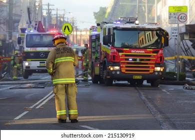 ROZELLE, AUSTRALIA - SEPTEMBER 4, 2014; Firefighters and rescue crew attend a shop explosion in Rozelle.   The main street blocked from traffic and public