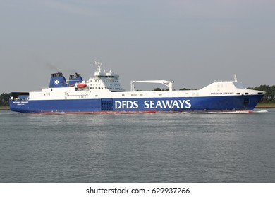 ROZENBURG, THE NETHERLANDS - August 21, 2013: BRITANNIA SEAWAYS inbound Rotterdam. DFDS Seaways is a large Danish shipping company operating passenger and freight services across Northern Europe.