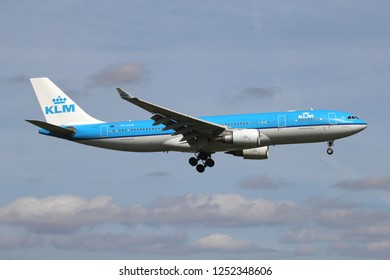 ROZENBURG, THE NETHERLANDS - June 15, 2015: Dutch KLM Airbus A330-200 with registration PH-AOB on short final for runway 06 of Amsterdam Airport Schiphol.
