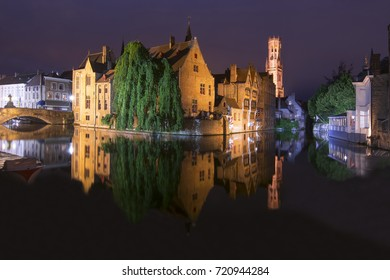Rozenhoedkaai embankment at night, Bruges, Belgium