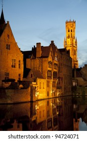 Rozenhoedkaai Quay of the rosary with Belfort tower, Bruges, Brugge, Flanders, Belgium, UNESCO World Heritage Site