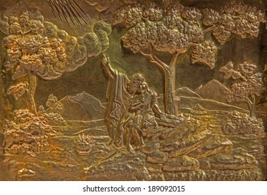 ROZNAVA, SLOVAKIA - APRIL 19, 2014: Metal relief of Abraham and Isaac from baroque main altar in the cathedral by Johannes Szilassy (1705 - 1782)