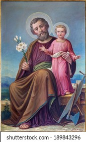"ROZNAVA, SLOVAKIA - APRIL 19, 2014: Paint of St.Joseph from 19. cent. in the cathedral by ""Adum"" (1907)"