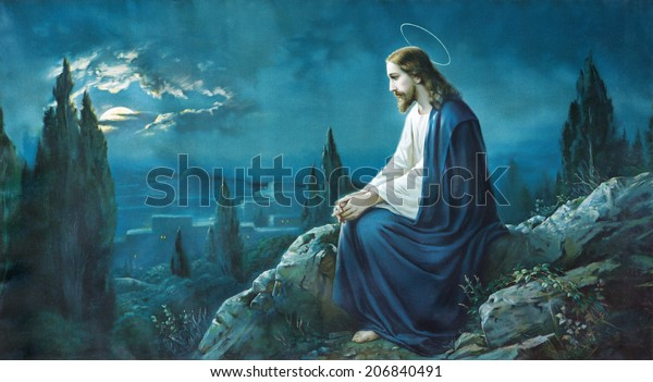 ROZNAVA, SLOVAKIA - JULY 21, 2014: The prayer of Jesus in the Gethsemane garden. Typical cahtolic printed image from the end of 19. cent.