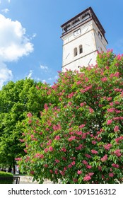 Roznava town in Slovakia - ancient city tower on city square