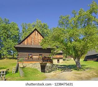 ROZNOV, CZECH REPUBLIC - SEPTEMBER 30, 2018: Wallachian Village, Farmhouses from Novy Hrozenkov of Wallachian Open Air Museum.