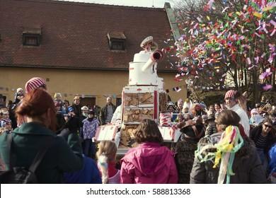 Roztoky near Prague, Czech Republic - February 25, 2017: 20 anniversary of Traditional carnival (Masopust) in Roztoky near Prague.