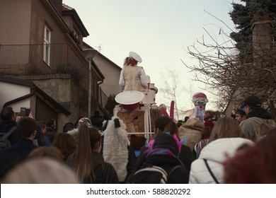 Roztoky near Prague, Czech Republic - February 25, 2017: 20 anniversary of Traditional carnival (Masopust) in Roztoky near Prague.