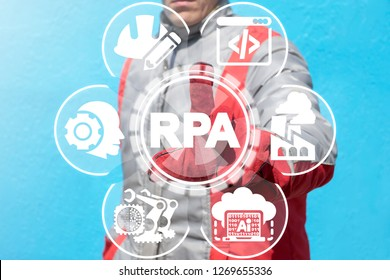 RPA - Robotic Process Automation Industry 40 concept. AI Industrial Smart Technology.