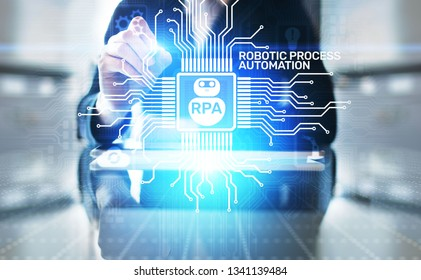 RPA Robotic process automation innovation technology concept on virtual screen.