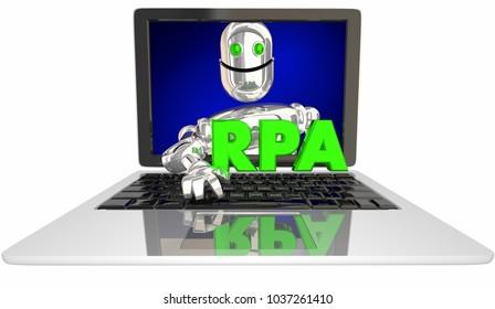 RPA Robotic Process Automation Laptop Computer 3d Illustration