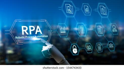 RPA (Robotic Process Automation System), Künstliche Intelligenz, Roboter Finger, Roboter Berater, Big Data und Business Concept.Roboter Finger auf unscharfem Hintergrund mithilfe der digitalen RPA-Schnittstelle.