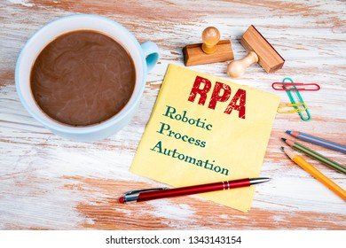 RPA Robotic Process Automation. Text on a napkin with a cup of coffee