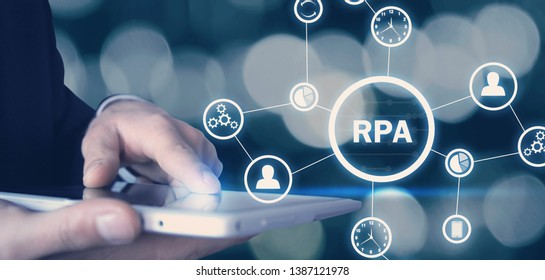 RPA-Robotic Process Automation. Technology concept