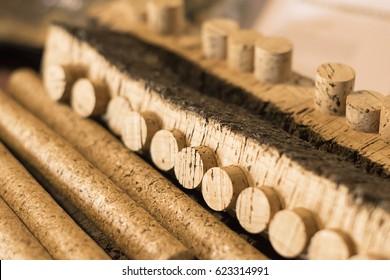 Rroduction of corks for wine bottles of cork oak bark. Selective focus