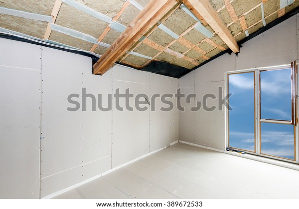 Rroom Under Construction Gypsum Plaster Boards Stock Photo