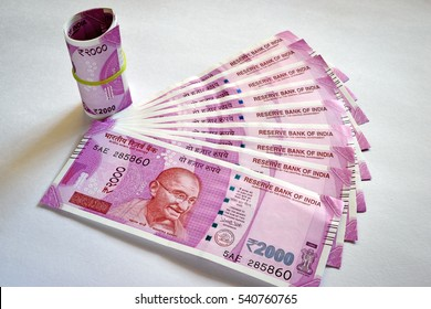 Rs.2000 new Indian currency notes issued by Indian government after demonetizing Rs.1000 notes to curb black (unaccounted) money. Plain white background