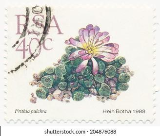 RSA - CIRCA 1988: A stamp printed in RSA shows Frithia pulchra painted by Hein Botha, circa 1988