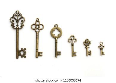 rset of retro keys isolated on white