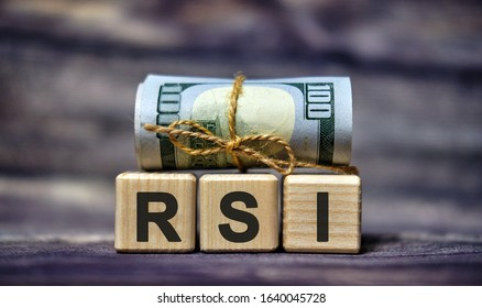 RSI - Relative Strength Index acronym concept on cubes
