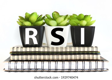 RSI. written on a pot of flowers on notebooks, on a white background.