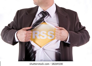RSS business man on the white background