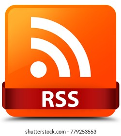 RSS isolated on orange square button with red ribbon in middle abstract illustration