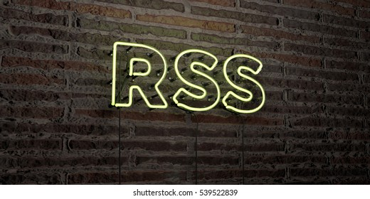 RSS -Realistic Neon Sign on Brick Wall background - 3D rendered royalty free stock image. Can be used for online banner ads and direct mailers.
