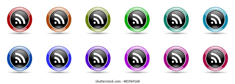 rss round glossy colorful web icon set