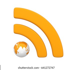 RSS Symbol with Globe Isolated. 3D rendering