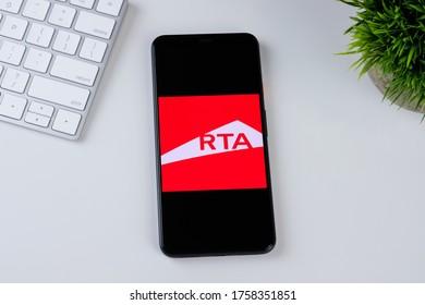 RTA Dubai app logo on a smartphone screen. Manhattan, New York, USA May 2, 2020.