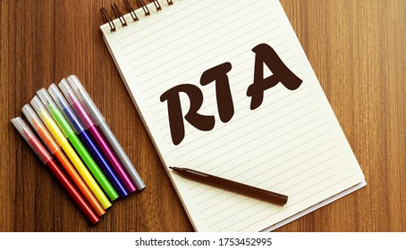 RTA your future target searching A cup of cappuccino, glasses, a marker, pen, three colored pencils and a notebook for writing