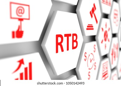 RTB concept cell blurred background 3d illustration