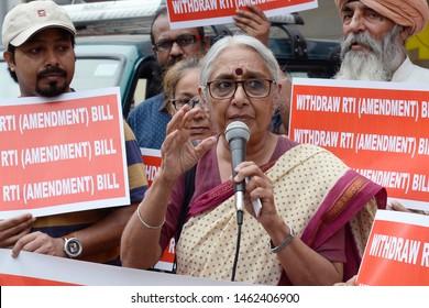 RTI activist Aruna Roy address during protest against RTI Amendment Bill on July 25, 2019 in Calcutta, India.