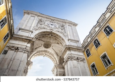Rua Augusta Arch, Lisbon, shot from a low angle