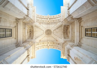 Rua Augusta Arch, Lisbon, shot from a low angle. Portugal.