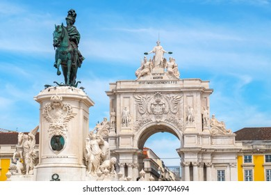 Rua Augusta Arch on the Commerce Square (Praca do Comercio) with the statue of King Jose I. Lisbon, Portugal