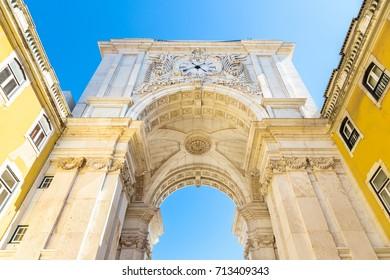 Rua Augusta Arch on Commerce Square in Lisbon, Portugal