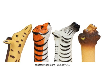 Rubber Animal Finger Puppets - Giraffe, Tiger, Zebra, and Lion - with Clipping Path