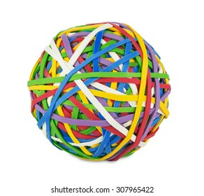 rubber ball out of many colorful elastic bands on white background