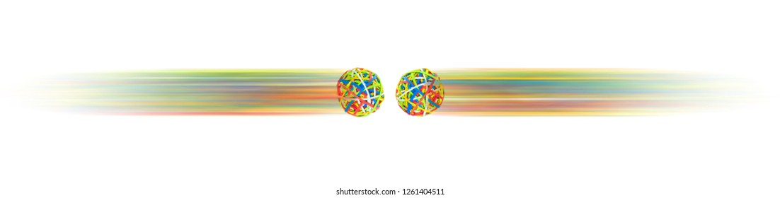Rubber balls fly towards each other quickly and collide right away.
