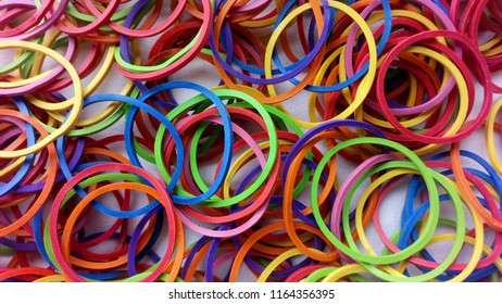 Rubber band is colourful.
