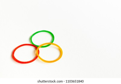 Rubber band or plastic band isolated on white background