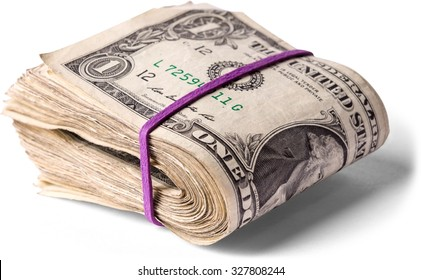 rubber banded wad of one dollar bills