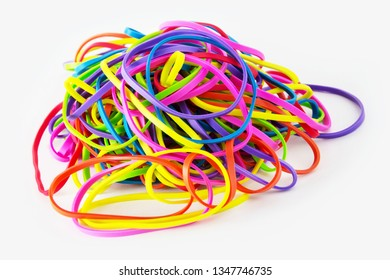Rubber bands and white background