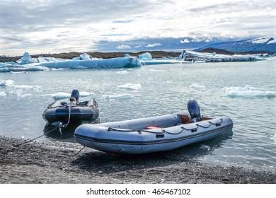 Rubber boats at ice lagoon Jokulsarlon in Iceland.
