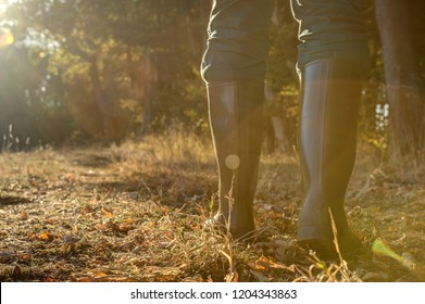Rubber boots in backlight.. Hunter goes through his hunting grounds with rubber boots towards the setting sun.
