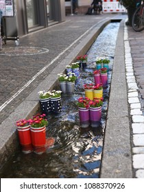 Rubber boots in the water with flowers in the city of Freiburg. Tourist attraction.